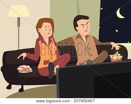 couple watching tv with emotionally- funny vector cartoon illustration