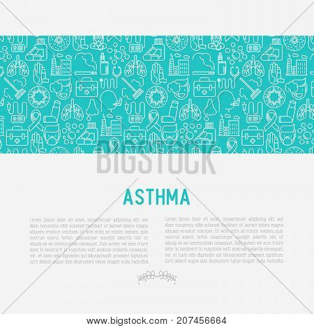 World asthma day concept with thin line icons: air pollution, smoking, respirator, therapist, inhaler, bronchi, allergy symptoms and allergens. Vector illustration for banner, web page.