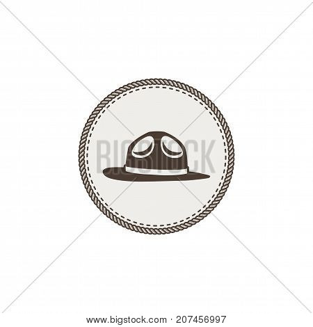 scout hat sticker, icon. Vintage hand drawn adventure patch design. Stock vector illustration isolated on white background.