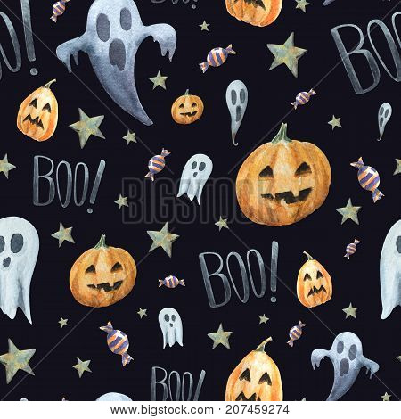 Watercolor seamless pattern of scary and little ghost pumpkinsword BOO! and candy. Cheerful and awesome traditional background for Halloween.
