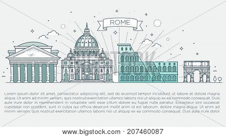 Historic buildings from the streets of Rome, outline.