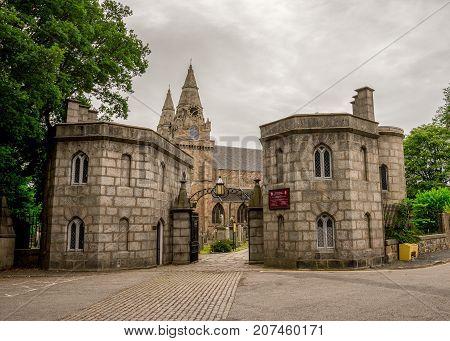 Aberdeen, Scotland, June 2017: Entry gate to St Machar cathedral