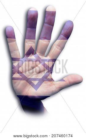Israeli blue flag painted on a hand.