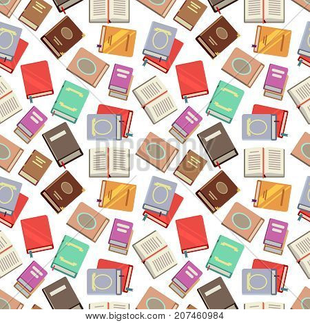 Colorful books seamless pattern - school books seamless texture. Color background with books, vector illustration