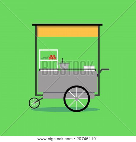 Flat Thai street food vending cart with green background vector illustration .Papaya salad spicy cart on wheel.
