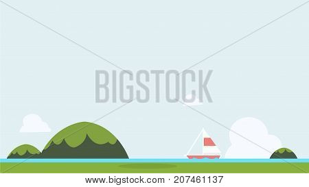 Flat nature landscape with sailboat and sky background vector illustration.Seascape with green mountains and background.Tropical sea Asia view .