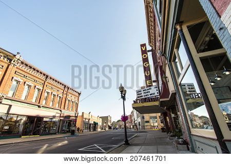 Manistee, Michigan, USA - October 1, 2017: Street view of downtown Manistee, Michigan. Located on the shores of Lake Michigan it is a popular beach town in the summer tourist season.