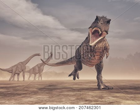 Jurrasic scene - a fierce Trex dinosaur attacking branchiosaurus in background - 3d render