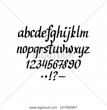 Vector hand-written italic alphabet. Part 1. Lowercase, figures and punctuation marks