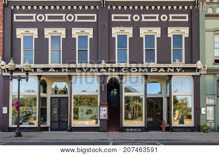 Manistee, Michigan, USA -  October 1, 2017: The historic Lyman Building in downtown Manistee now functions as a historical museum for Manistee County.