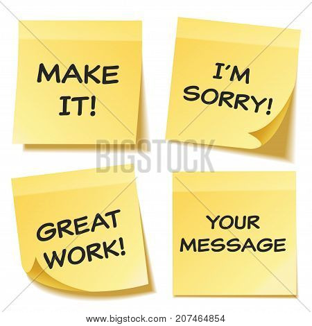 Sticky note with text and shadow isolated on transparent background set. Yellow paper. Message on notepaper.Reminder. Vector illustration