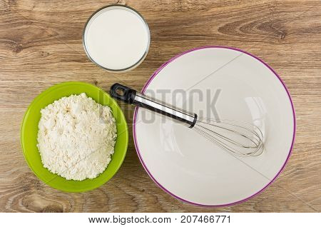Wheat Flour In Bowl, Glass Of Yogurt, Bowl With Whisk