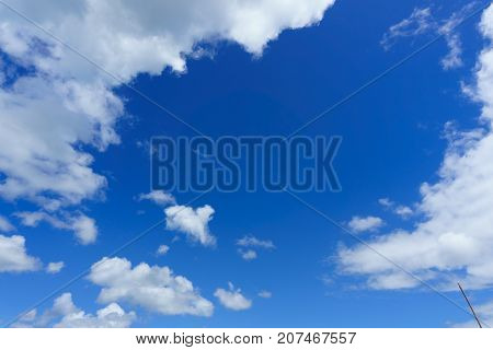 Blue Sky With Clouds Background. Nice Cloud Formation Over The Clear Sky. Beautiful And Amazing Azur