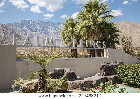 Palm Springs, California, USA - September 06 2017: Palm Springs sign by the side of the highway on approach to the city.