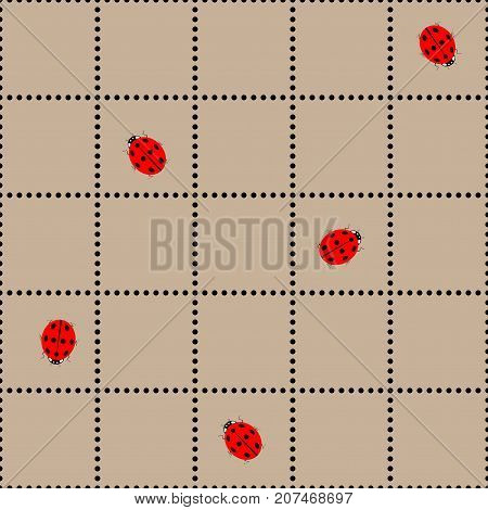 Ladybird in brown square seamless pattern. Fashion graphic background design. Modern stylish abstract texture. Colorful template for prints textiles wrapping wallpaper website. Vector illustration