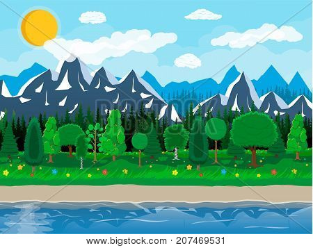 Summer nature landscape with mountains, forest, grass, flower, sky, sun and clouds. National park. Lake and rocks, river. Nature landscape. Vector illustration in flat style