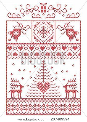 Scandinavian, Nordic style winter stitching Christmas pattern including snowflakes, hearts,present, snow, star, Christmas tree, reindeer and decorative ornaments in red, white in rectangle frame