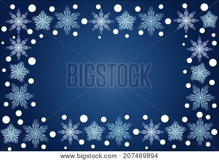 Christmas, Winter Rectangular Frame Of Snowflakes On A Blue Background