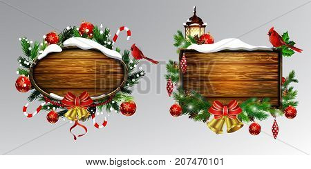 Vector realistic illustration set of wooden christmas board with christmas tree Cardinal bird and decorations
