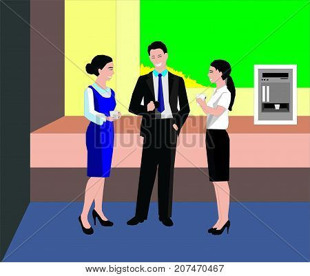 Happy work team during break time in office. Colleagues chatting in coffee break in an office lobby concept illustration vector.