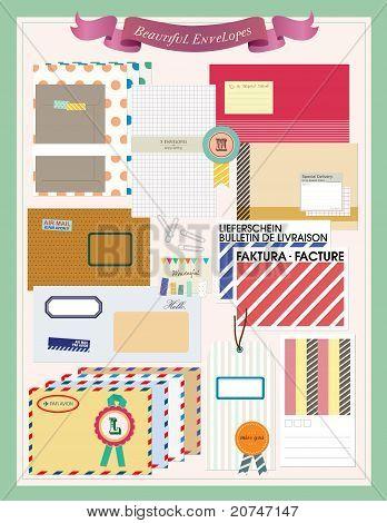 Beautiful Envelopes Scrapbooking Elements. Vector illustration.