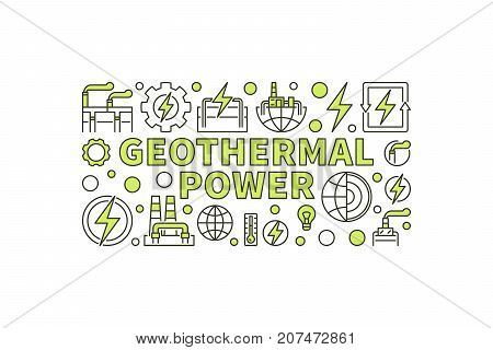 Creative Geothermal Power illustration. Vector minimal geothermal energy banner. Renewable energy concept