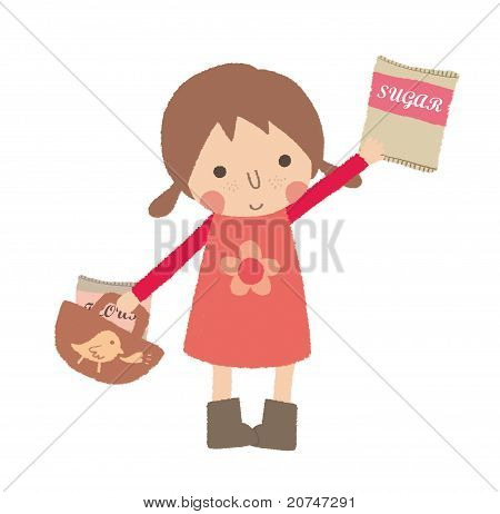 Little girl is shopping and buying a pack of sugar.