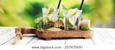 Lemon Fruit Lime Caipirinha of Brazil. Caipi with brown sugar