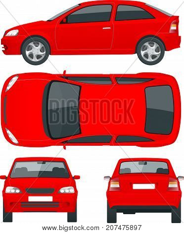 Set of red Sedan Cars. Isolated car, template for car branding and advertising. Front, rear , side, top Change the color in one click All elements in groups on separate layers