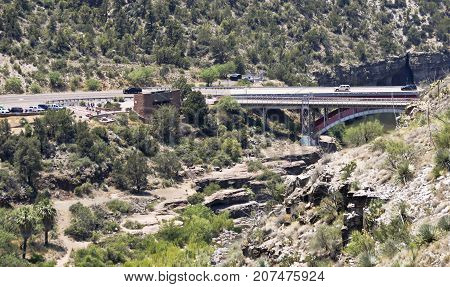GILA COUNTY, ARIZONA, JUNE 24. Salt River Canyon Bridge on June 24, 2017, in Gila County, Arizona. A Salt River Canyon Rest Area at Salt River Canyon Bridge in Gila County in Arizona.