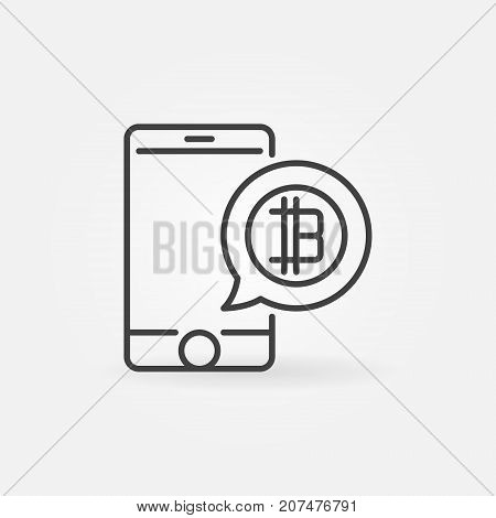 Smartphone with cryptocurrency speech bubble line icon. Mobile digital money payment concept linear symbol