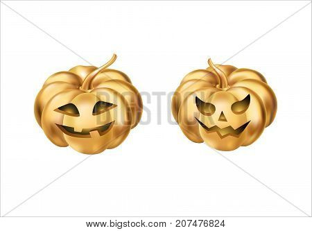 Gold halloween pumpkins. Happy Halloween pumpkin. Halloween party decoration. Golden pumpkin party design, event . Gold pumpkins party elements for celebration, event, congratulations, Home decoration