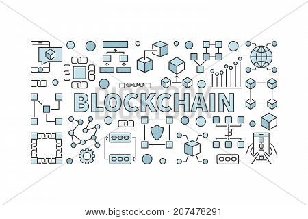 Creative technology banner made with block chain icons and word BLOCKCHAIN inside on white background