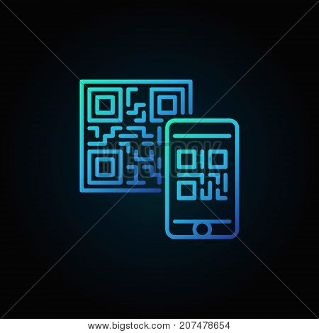 Mobile phone scanning QR code vector blue linear concept icon or symbol on dark background