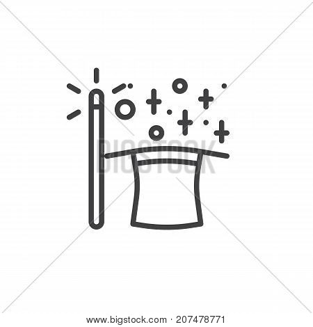 Magic wand and magic hat line icon, outline vector sign, linear style pictogram isolated on white. Symbol, logo illustration. Editable stroke