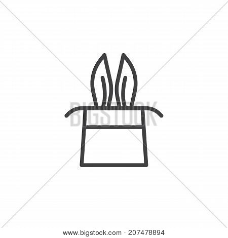 Magician rabbit ears in a magic hat line icon, outline vector sign, linear style pictogram isolated on white. Symbol, logo illustration. Editable stroke