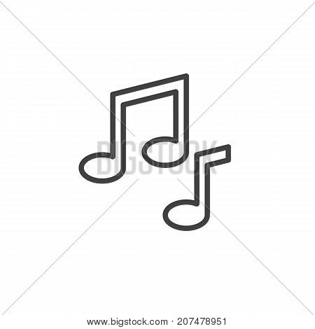 Musical note line icon, outline vector sign, linear style pictogram isolated on white. Symbol, logo illustration. Editable stroke