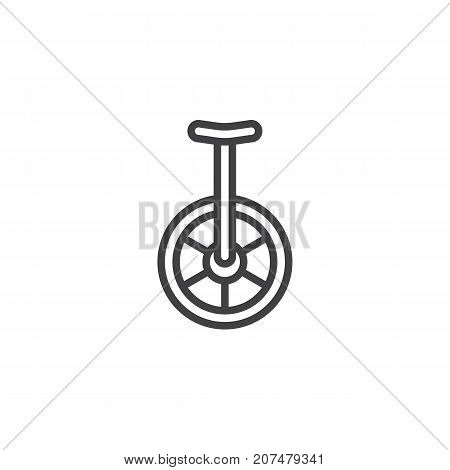 Unicycle line icon, outline vector sign, linear style pictogram isolated on white. Symbol, logo illustration. Editable stroke