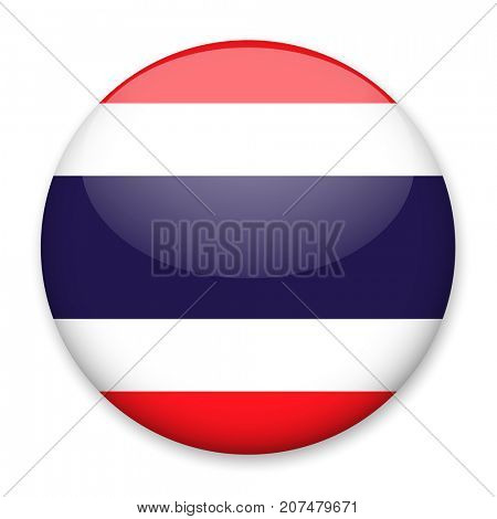 Flag of Thailand in the form of a round button with a light glare and a shadow. The symbol of Independence Day, a souvenir, a button for switching the language on the site, an icon.