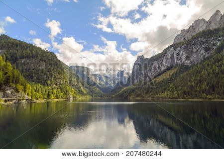 Vorderer Gosausee, Austria. Gosau is a municipality in the district of Gmunden in Upper Austria, Austria and at the southern end is the Vorderer Gosausee, a lake with a scenic view of the Dachstein.