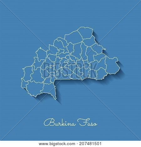 Burkina Faso Region Map: Blue With White Outline And Shadow On Blue Background. Detailed Map Of Burk