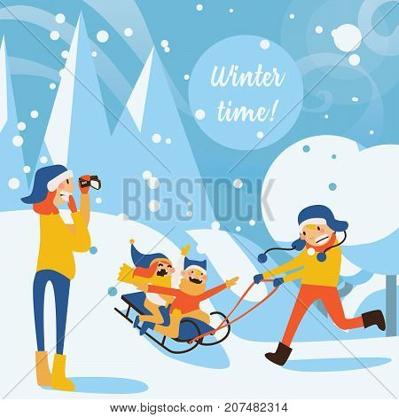Happy family illustration with kids sledding father riding mother recording with video camera in winter day scene. Snowdrifts and trees on background.