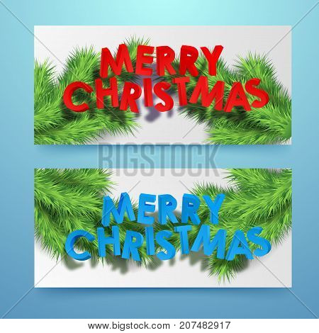 Merry Christmas winter horizontal banners with inscription and green fir twigs vector illustration
