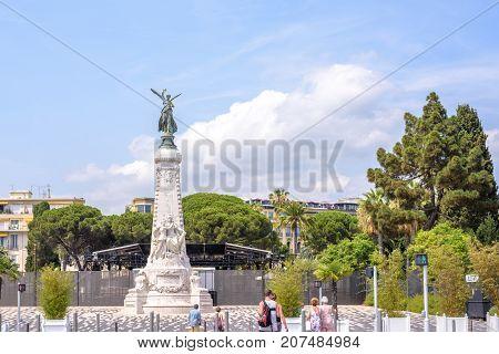 NICE COTE D'AZUR, FRANCE - JUNE 27, 2017: La ville de Nice monument shooted at daylight.