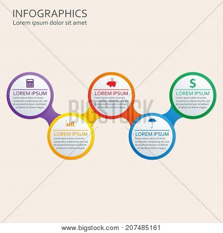 Step by step infographics template. Vector illustration with 5 steps options or levels.