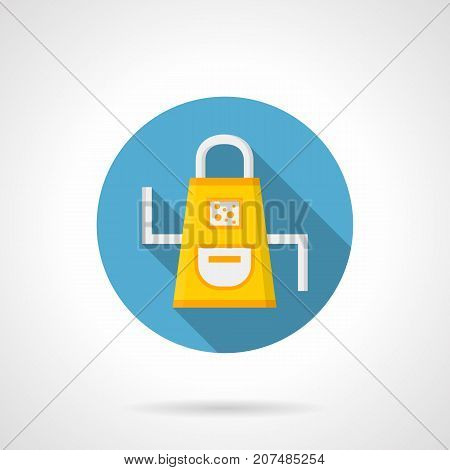 Symbol of yellow apron with white straps and pocket. Kitchen accessories, cook or maid uniform. Round flat design vector icon.