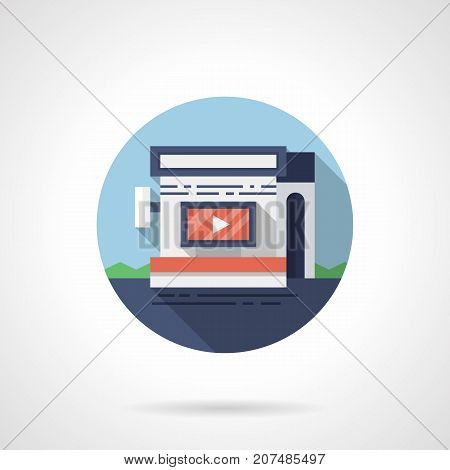 Abstract symbol of video advertising on display in store, shop and other commercial buildings. Round flat design vector icon.