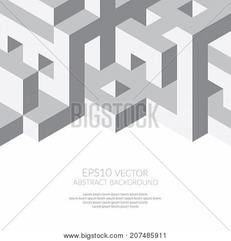 Abstract background in isometric style. Build of three-dimensional shapes. Space for text.