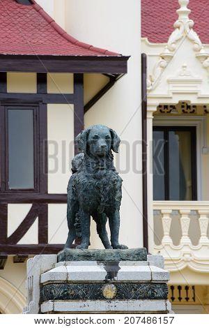 June 4 2016. Close-up detail of the Yah Leh monument King Rama VI's dog at Chali Mongkol Asana Sanam Chandra Palace. Nakhon Pathom Thailand. Travel and tourism editorial concept.