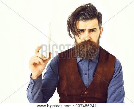 Bearded Man Holding Bottle Of Kefir With Sad Face